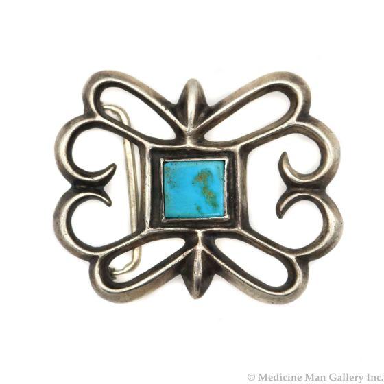 "Navajo Blue Gem Turquoise and Silver Sandcast Belt Buckle c. 1930s, 2.25"" x 2.75"" (J13456-CO)"