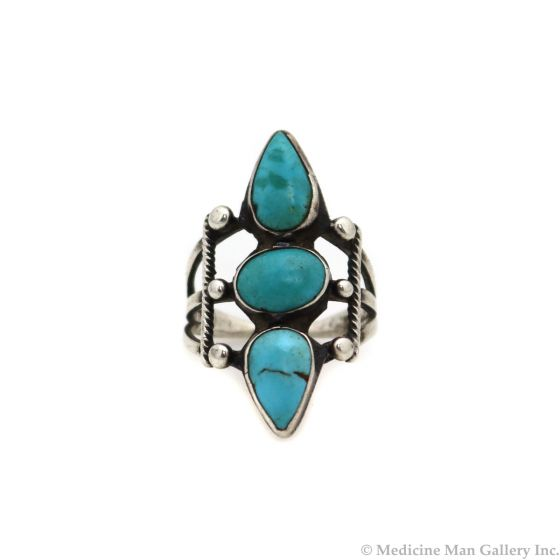 Navajo Turquoise and Silver Ring c. 1920s, size 5 (J13463-CO)