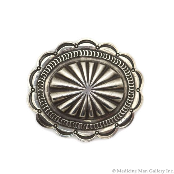 "Navajo Silver Concho Belt Buckle c. 1940s, 2.25"" x 2.75"" (J13466-CO)"