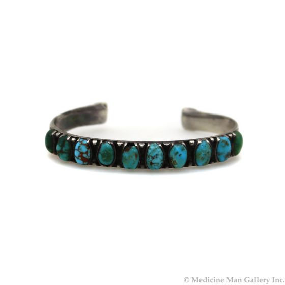 Navajo Turquoise and Silver Bracelet c. 1930s, size 6.75 (J13468-CO)