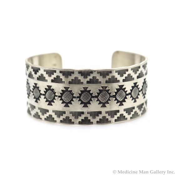 Roland Begay - Navajo Contemporary Sterling Silver Bracelet with Stamped Design, size 6.5 (J13538)