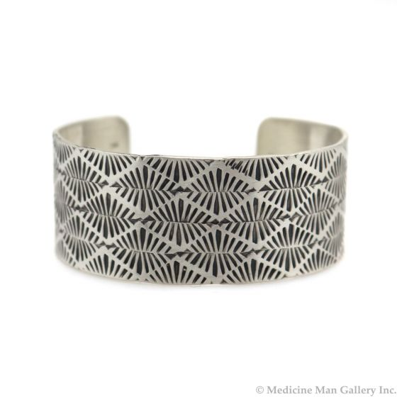 Roland Begay - Navajo Contemporary Sterling Silver Bracelet with Stamped Design, size 6.75 (J13540)