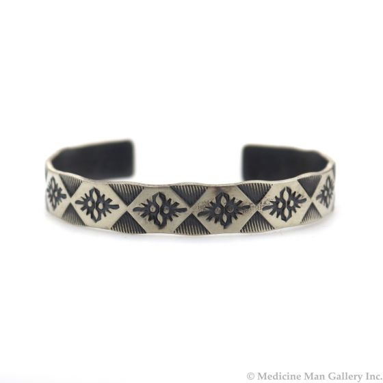Roland Begay - Navajo Contemporary Sterling Silver Bracelet with Stamped Design, size 6.5 (J13543)