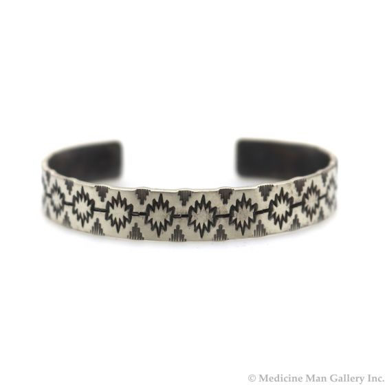 Roland Begay - Navajo Contemporary Sterling Silver Bracelet with Stamped Design, size 6.5 (J13545)