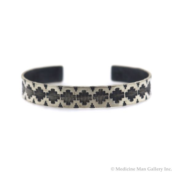 Roland Begay - Navajo Contemporary Sterling Silver Bracelet with Stamped Design, size 6.75 (J13548)