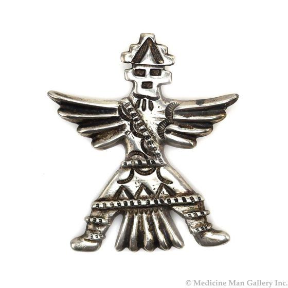 """Horace Iule (1901-1978) - Zuni Silver Knifewing God Pin c. 1930s, 2"""" x 1.75"""" (J13567)"""