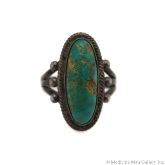 Navajo Turquoise and Silver Ring c. 1930s, size 4.5 (J13570) 1