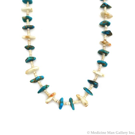 """Navajo Heishi Necklace with Turquoise Nuggets and Mother of Pearl c. 1960s, 29"""" length (J13607)"""