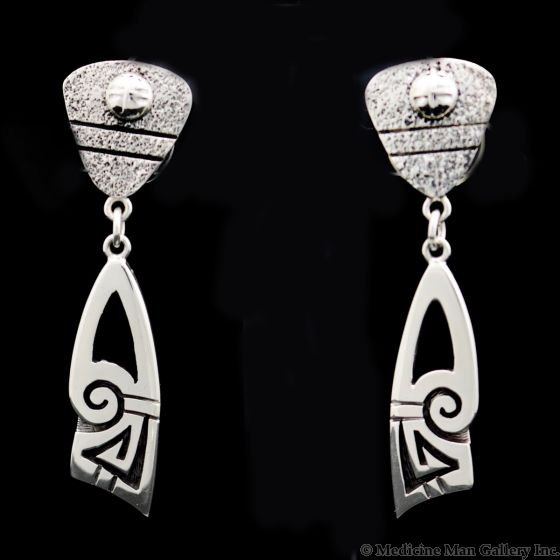 "Roy Talahaftewa - Hopi Contemporary Sterling Silver Dangle Post Earrings, 2.25"" x 0.5"" (J13614)"