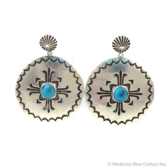 """Kee Nataani - Navajo Contemporary Morenci Turquoise and Sterling Silver Hook Earrings with Stamped Design, 2"""" x 1.5"""" (J13901)"""