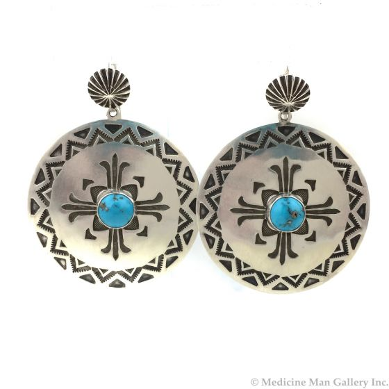 """Kee Nataani - Navajo Contemporary Morenci Turquoise and Sterling Silver Hook Earrings with Stamped Design, 2"""" x 1.5"""" (J13902)"""