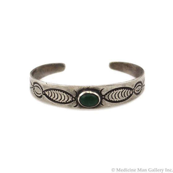 Navajo Turquoise and Ingot Silver Bracelet c. 1910s, size 6.25 (J14008-CO)