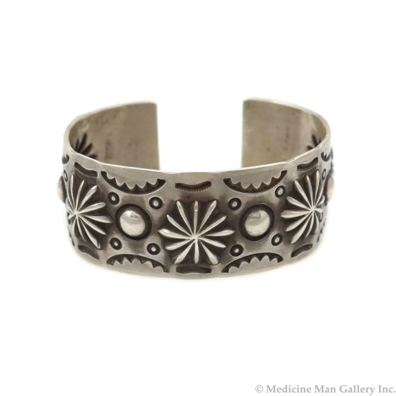 Nora Bill - Navajo Contemporary Silver Bracelet with Stamped Design, size 7 (J14024-CO)