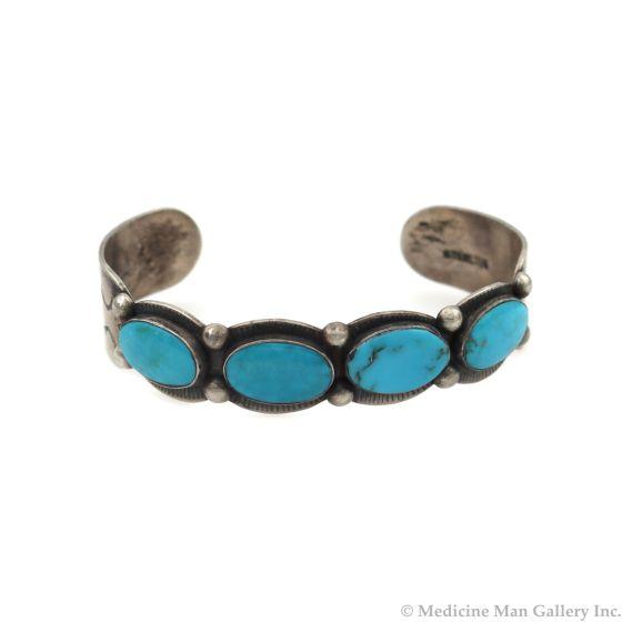 Navajo Blue Gem Turquoise and Silver Bracelet c. 1960s, size 7 (J14025-CO)
