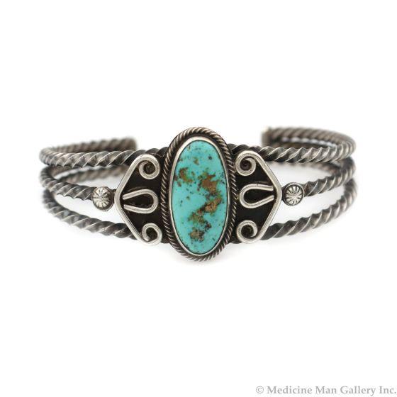 Navajo Blue Gem Turquoise and Silver Bracelet c. 1940s, size 6.75 (J14028-CO)