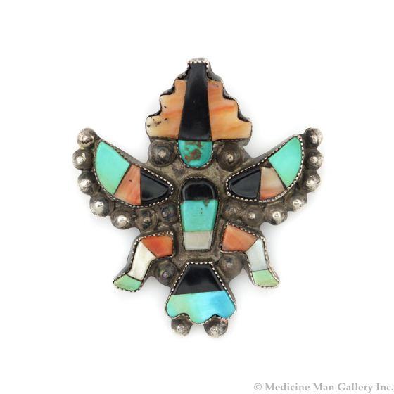 """Zuni Multi-Stone Inlay and Silver Knifewing God Pin c. 1940s, 2.125"""" x 2"""" (J14031-CO)"""