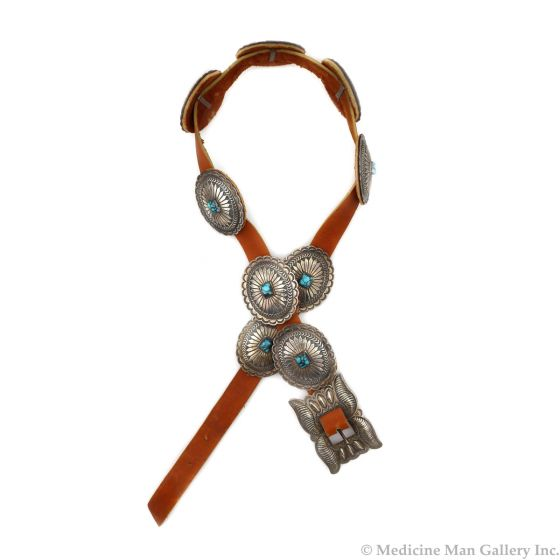 """Navajo Turquoise, Silver, and Leather Concho Belt c. 1960s, 32""""-35"""" waist (J14042-CO)"""