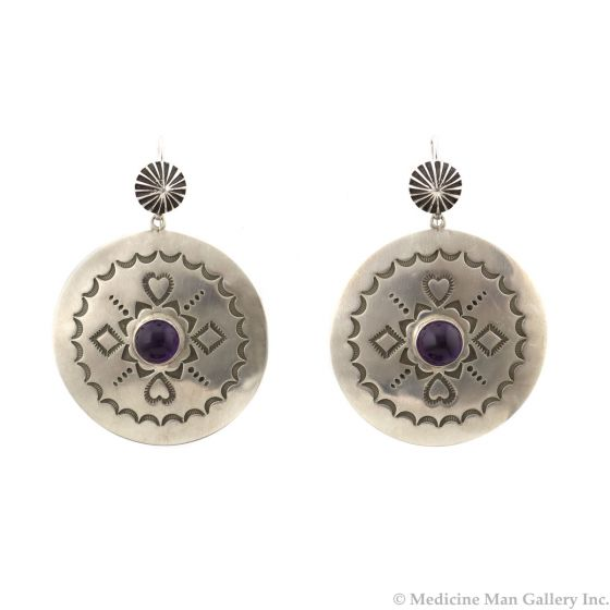 """Kee (Karl) Nataani – Navajo Contemporary Amethyst and Sterling Silver Earrings with French Hooks, 2"""" x 1.5"""" (J14184-023)"""