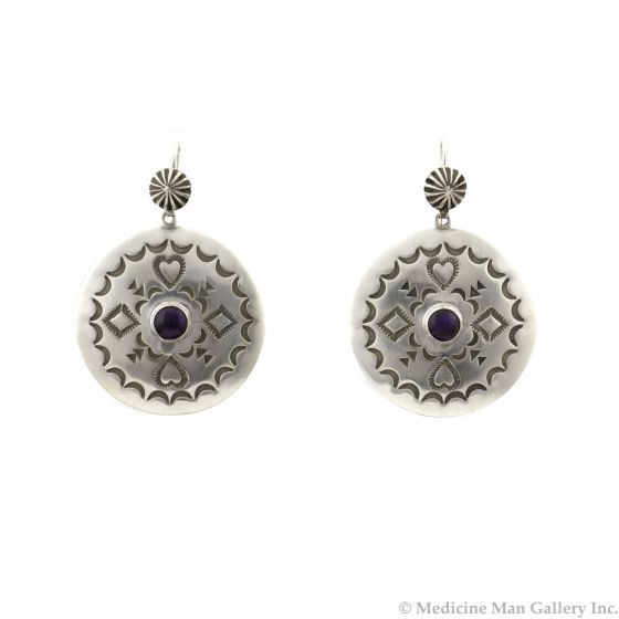 """Kee (Karl) Nataani – Navajo Contemporary Paua Abalone and Sterling Silver Earrings with French Hooks, 1.75"""" x 1.25"""" (J14184-025)"""