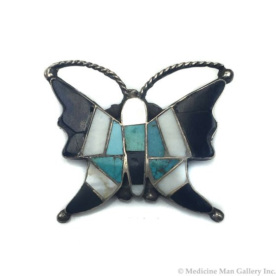 Zuni Multi-stone Inlay Butterfly Silver Pin with Turquoise, Jet, and Mother of Pearl / Abalone