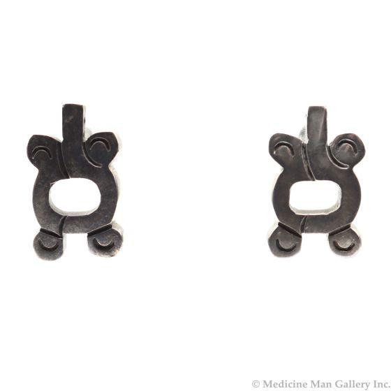 "Mexican Silver Post Earrings c. 1980s, 1"" x 0.625"" (J4069)"