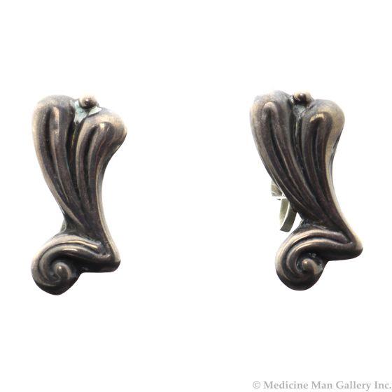 "Mexican Sterling Silver Screwback Earrings c. 1940s, 1.25"" x 0.625"" (J4751)"