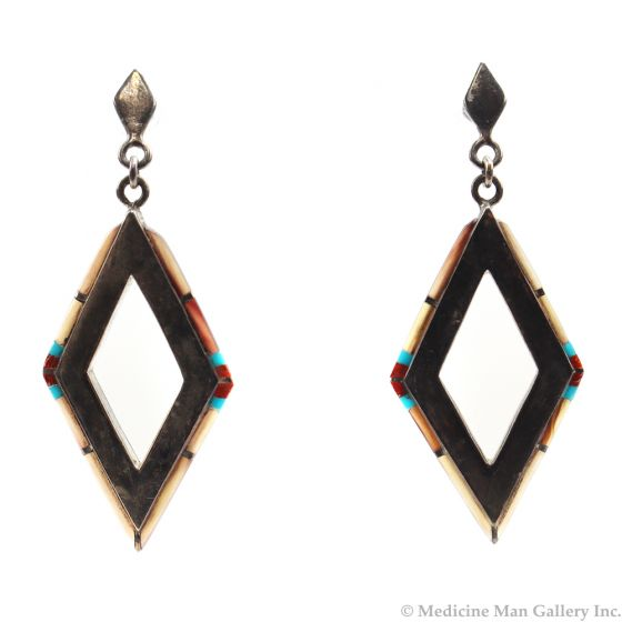 """Navajo Multi-Stone and Sterling Silver Post Earrings c. 1960s-70s, 2"""" x 0.75"""" (J5700)"""
