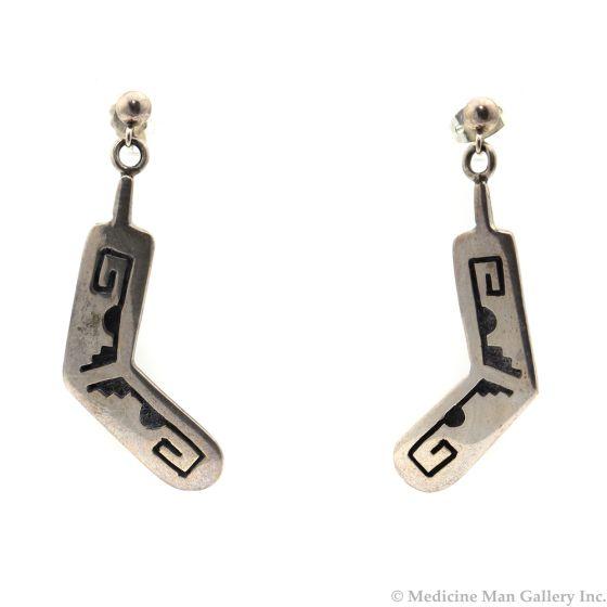 """Hopi Silver Overlay Rabbit Stick Post Earrings, 1.75"""" length (J5872)"""