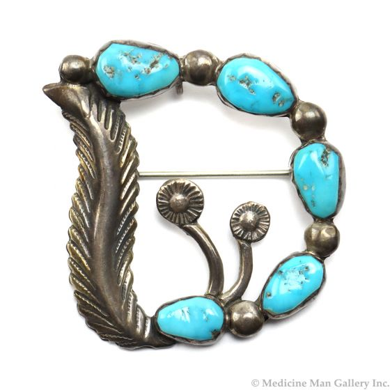 """Carmelita Simplicio - Zuni Turquoise and Sterling Silver Pin/Pendant with Floral Design c. 1960s, 1.75"""" x 1.5"""" (J6081)"""