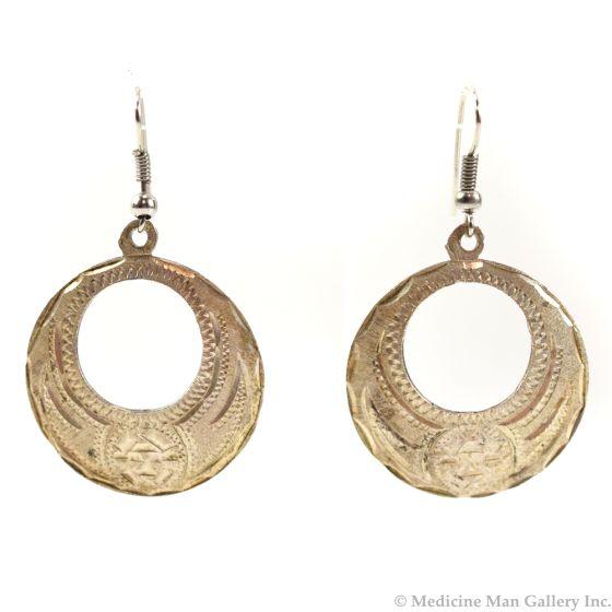 """Mexican Sterling Silver Hook Earrings c. 1980s, 2"""" x 1.125"""" (J6221)"""
