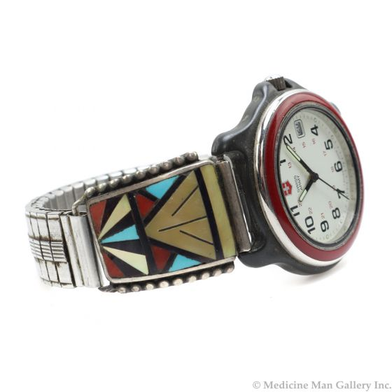 Herbert and Esther Cellicion - Zuni Multi-Stone Inlay Silver Watchband c.1980s, size 8 (J7013)