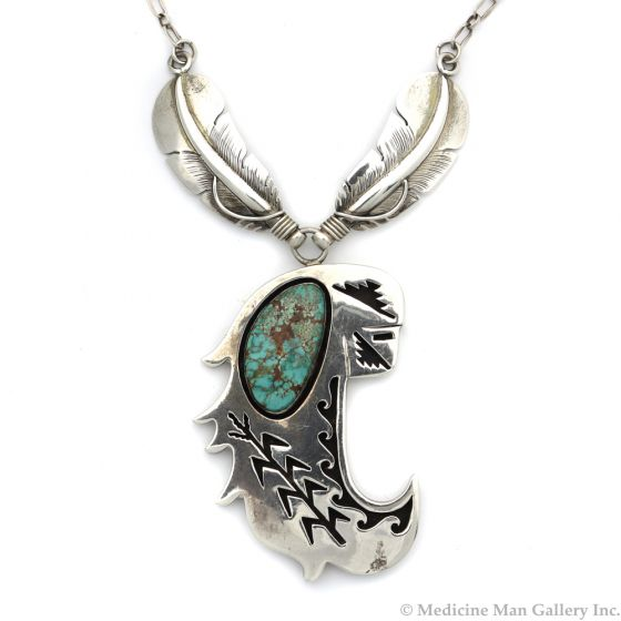 "Delbert Vandever - Navajo Turquoise and Silver Overlay Shadowbox Pendant with Cornstalk Design and Silver Chain, c. 1970s-80s, 5.25"" x 2"" Pendant (J7467)"