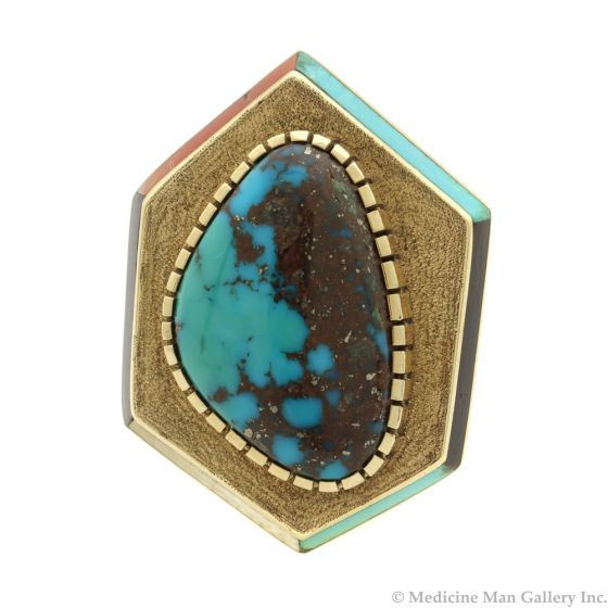 Lot 139 - Don Johnson - Navajo Bisbee Turquoise and 14K Gold Ring with Outer Multi-Stone Inlay Design c. 1970s, size 7.25 (J8741)