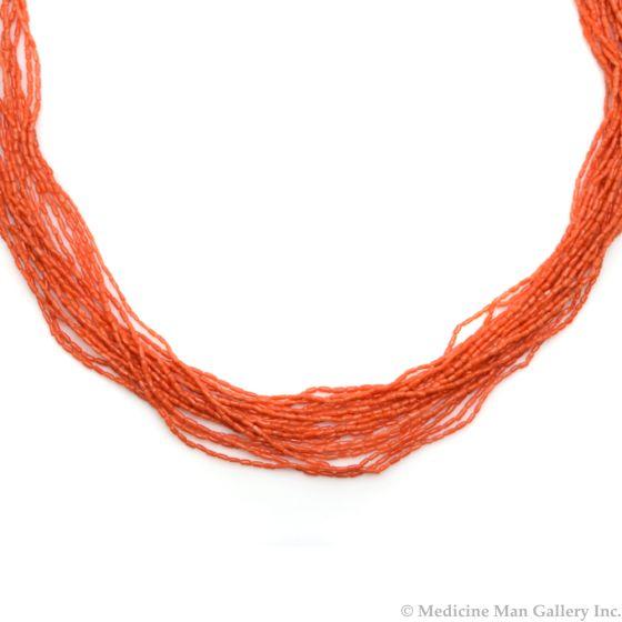 """Navajo 18-Strand Coral Necklace c. 1980s, 31"""" length (J90193-0420-010)"""