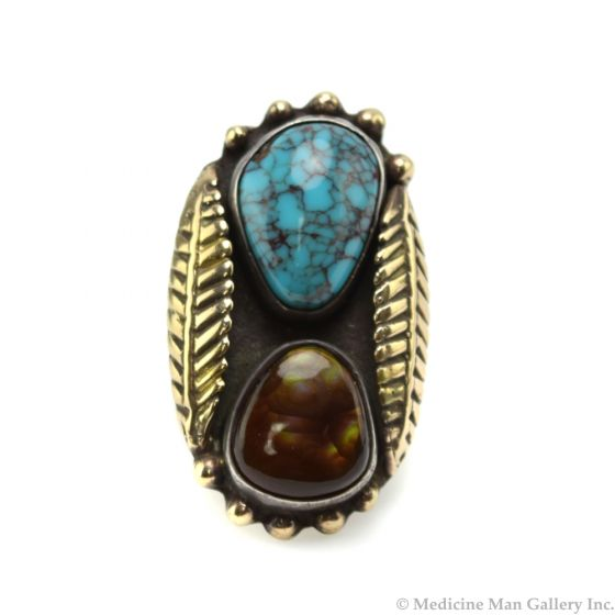 Navajo Turquoise, Fire Agate, Silver and Gold Plated Ring with Feather Design c. 1980s, size 6.5 (J90193-0420-012)