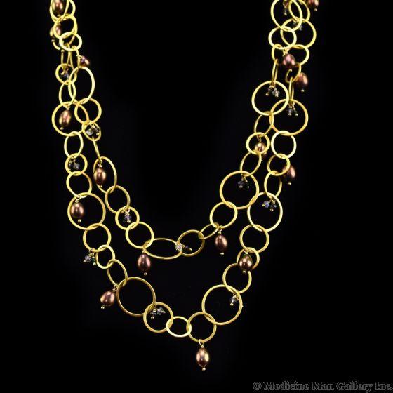 Dana Busch Designs - Necklace with Copper/Eggplant Freshwater Pearls, Green Goldstone, Purple Mystic Topaz, Rainbow Moonstone, Smoky Quartz & 24Kt Gold Vermeil