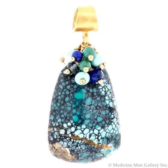 "Dana Busch - ""Sacred Spider Medicine II"" - Cluster Drop Pendant with Spiderweb Tuequoise, White Coral, Lapis Lazuli, London Blue Topaz, Turquoise & 24Kt Gold Vermeil"