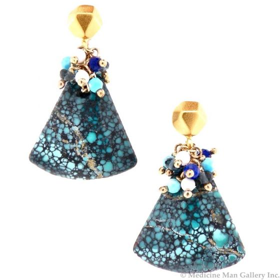 """Dana Busch - """"Sacred Spider Medicine I"""" - Cluster Drop Earrings with Spiderweb Turquoise, White Coral, Lapis Lazuli, Turquoise, London Blue Topaz & 24Kt Gold Vermeil"""