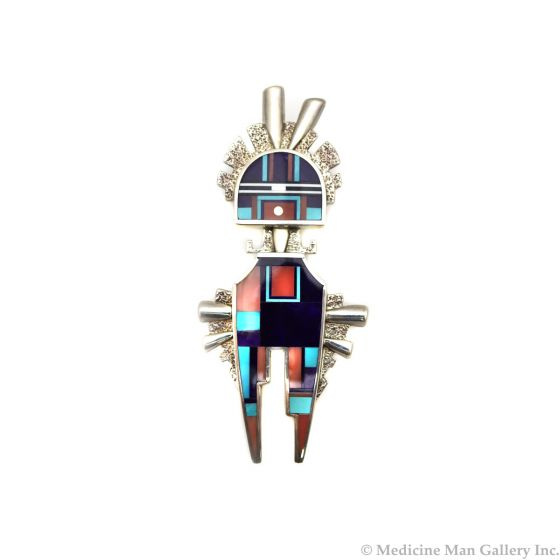 """Ray Tracey (b. 1953) - Navajo Contemporary Multi-Stone Channel Inlay and Sterling Silver Kachina Pendant, 3.25"""" x 1.5"""" (J90365-0421-009)"""