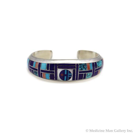 Fatoya Yazzie - Navajo Contemporary Multi-Stone Channel Inlay and Sterling Silver Bracelet, size 6.5 (J90365-0421-010)