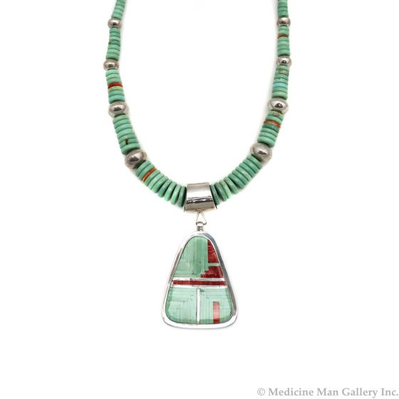 """Navajo Contemporary Turquoise, Coral, and Silver Beaded Necklace, 31"""" length (J90365-0421-019) 1"""