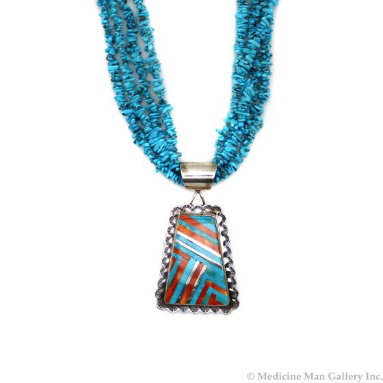 """Navajo Contemporary Stabilized Turquoise Beaded Necklace with Multi-Stone Inlay and Silver Pendant, 24"""" length (J90365-0421-022) 1"""