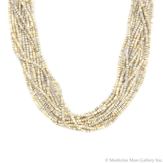 """Contemporary Santo Domingo 14-strand Heishi Necklace, 24"""" length"""