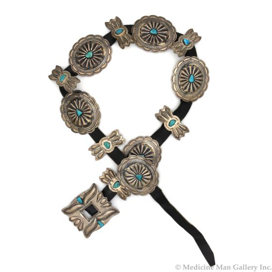 """Navajo Turquoise, Silver, and Leather Concho Belt c. 1940s, size 40"""" (J90427B-0720-006)"""