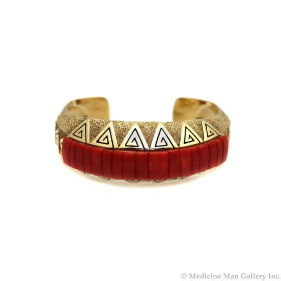 Harvey Austin Begay (1938-2009) - Navajo Coral and 14Kt Gold Bracelet, c. 1980s, size 6.5 (J90620A-0521-004)