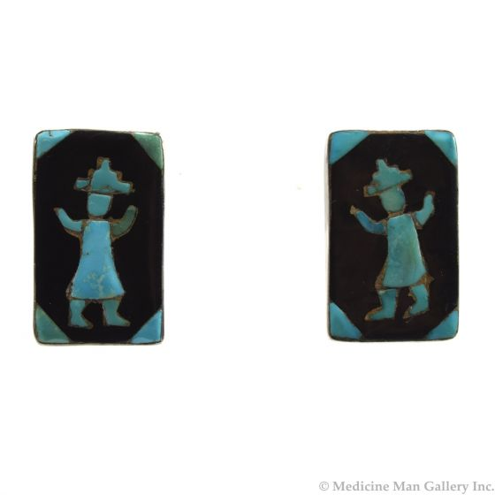 "John Gordon Leak - Zuni Turquoise, Jet, and Sterling Silver Post Earrings with Dancer Figure c. 1940s, 1.25"" x 0.75"""