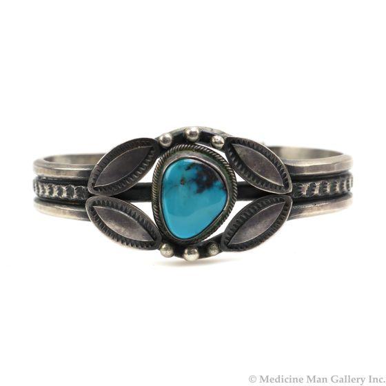 Harry Morgan (1946-2007) - Navajo Bisbee Turquoise and Silver Bracelet c. 1970s, size 6.25 (J91046-0620-001)