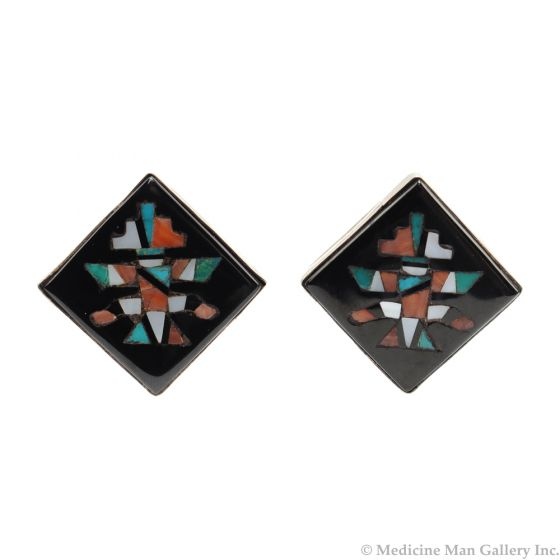 """Zuni Multi-Stone Inlay and Sterling Silver Cufflinks with Knifewing God Design c. 1960s, 1.125"""" x 1.125"""" (J91046-0820-003)"""