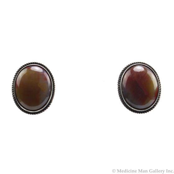 "Navajo Petrified Wood and Silver Screw-back Earrings c. 1940s, 0.75"" x 0.625"" (J91046-0820-004)"