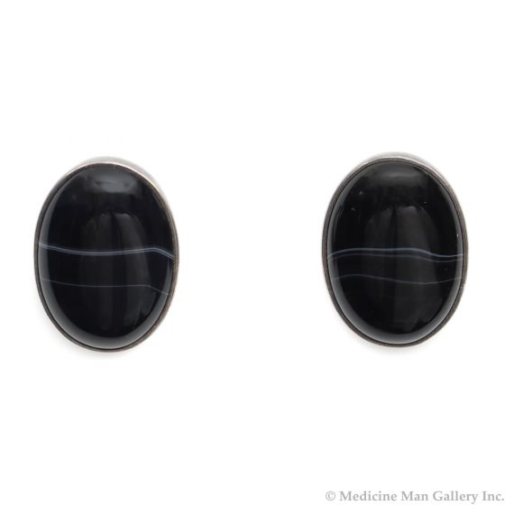 """Frank Patania Sr. (1898-1964) - Black Banded Onyx and Sterling Silver Clip-on Earrings c. 1950s, 1"""" x 0.75"""" (J91046-0820-007)"""